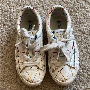 Zara White Paint Sneakers
